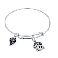 "Sterling Silver Buddha & Leaf Charms Wire Expandable Bangle Brecelet 7"" To 8"""