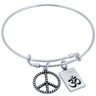 "Sterling Silver Beaded Peace Sign & OM Symbol Charms Wire Expandable Bangle Brecelet 7"" To 8"""