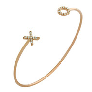 "Rose Gold-Tone Plated Sterling Silver Cubic Zirconia ""XO"" Hugs & Kisses Wire Bangle Brecelet"