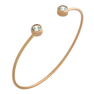 Rose Gold-Tone Plated Sterling Silver Bezel Set Cubic Zirconia Wire Bangle Brecelet