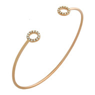Rose Gold-Tone Plated Sterling Silver Cubic Zirconia Double Circles Wire Bangle Brecelet