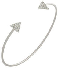 Rhodium Plated Sterling Silver Cubic Zirconia Pave Trangles Wire Bangle Brecelet