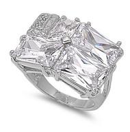 Designer Inspiration Ring Rhodium Plated Brass Cubic Zirconia