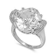Round Stone Designer Ring Rhodium Plated Brass Cubic Zirconia