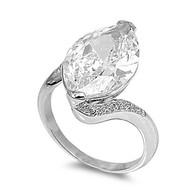 Pear Stone Designer Ring Rhodium Plated Brass Cubic Zirconia