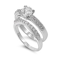 Set of 2 Engagement/ Wedding Ring Rhodium Plated Brass Cubic Zirconia