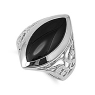 Pear Stone Fashion Ring Rhodium Plated Brass Simulated Onyx