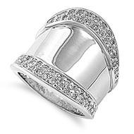 Modernized Bali Ring Rhodium Plated Brass Cubic Zirconia