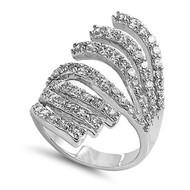 Designer Inspired Ring Rhodium Plated Brass Cubic Zirconia