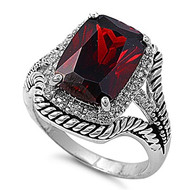 Rectangular Inspiration Ring Rhodium Plated Brass Simulated Garnet Cubic Zirconia