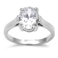 Round Stone Solitaire Ring Rhodium Plated Brass Cubic Zirconia