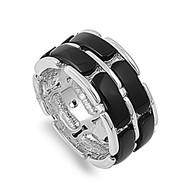 Designer Inspired Ring Rhodium Plated Brass Simulated Onyx
