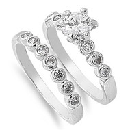Stackable Engagement/ Wedding Ring Rhodium Plated Brass Cubic Zirconia