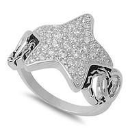 Fancy Star Ring Rhodium Plated Brass Cubic Zirconia