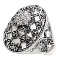 Flower Cluster Oval Vintage Style Simulated Marcasite Ring Sterling Silver 925