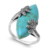 Marquise Simulated Turquoise Simulated Marcasite Vintage Style Ring Sterling Silver 925