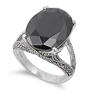Vintage Style Oblong Stone Ring Rhodium Plated Brass Black Cubic Zirconia Simulated Marcasite