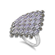 Designer Inspired Ring Rhodium Plated Brass Simulated Marcasite Lavender Cubic Zirconia Simulated Marcasite