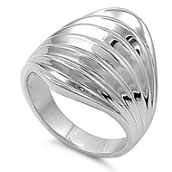 Designer Style Grooved Stripe Ring Rhodium Plated Brass