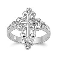 Grand Cross Aura Ring Rhodium Plated Brass Cubic Zirconia