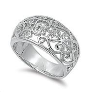 Filigree Stylus Ring Rhodium Plated Brass