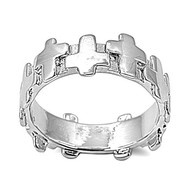 Cross Carousel Ring Rhodium Plated Brass