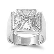 Imissa Concept Cross Ring Rhodium Plated Brass