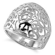 Filigree Aura Ring Rhodium Plated Brass