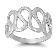 Designer Curve Ring Rhodium Plated Brass
