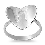 Concave Heart Ring Rhodium Plated Brass