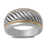 Two Toned Designer Inspired Ring Rhodium Plated Brass