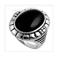 Oval Simulated Onyx Stone Ring Sterling Silver 925