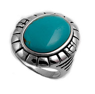 Oval Simulated Turquoise Stone Ring Sterling Silver 925
