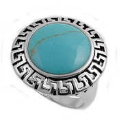 Round Simulated Turquoise Stone Ring Sterling Silver 925