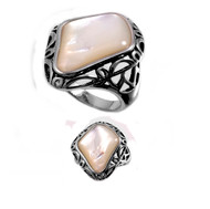 Filigree Irregular Shaped Simulated Mother Of Pearl Stone Ring Sterling Silver 925