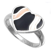 Collared Heart Simulated Onyx and Simulated Mother Of Pearl Stone Ring Sterling Silver 925