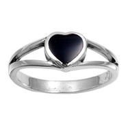 Bezel Solitaire Heart Simulated Onyx Stone Ring Sterling Silver 925