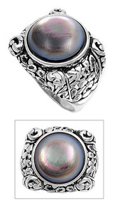 Filigree Noveau Heart Simulated Abalone Stone Ring Sterling Silver 925