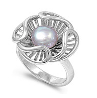 Simulated Shell Simulated Pearl Stone Ring Sterling Silver 925