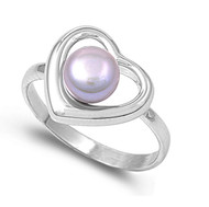 Heart Simulated Pearl Stone Ring Sterling Silver 925