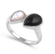 Teardrop Simulated Onyx and Simulated Mother Of Pearl Stone Ring Sterling Silver 925