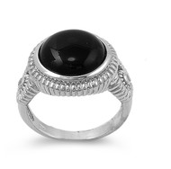Rope Braided Edges Round Simulated Onyx Stone Ring Sterling Silver 925