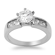 Round Princess Cut Combination Cubic Zirconia Engagement Ring Stainless Steel