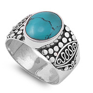 Oval Center Simulated Turquoise Designer Ring Sterling Silver 925