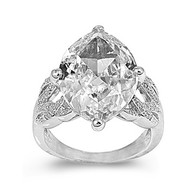 Pear Shape Center Cubic Zirconia Ring Rhodium Plated Brass