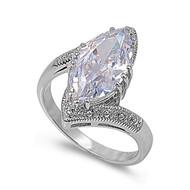 Marcasite Cubic Zirconia Designer Ring Rhodium Plated Brass