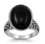 Giant Oval Simulated Onyx Rope Filigree Ring Sterling Silver 925