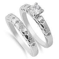 Cubic Zirconia Half Way Stackable Wedding Ring Rhodium Plated Brass