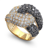 Love Knot Designer Ring Rhodium Plated Brass Black Cubic Zirconia