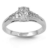 Designer Intent Ring Rhodium Plated Brass Cubic Zirconia